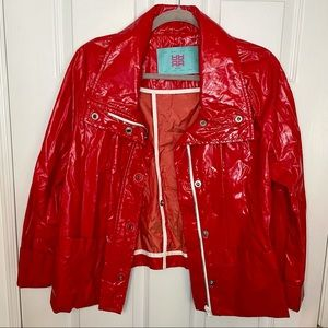 RIANI Red Patent Button Jacket Coat 10